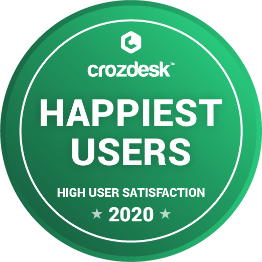 2020 Crozdesk Happiest Users Awarde